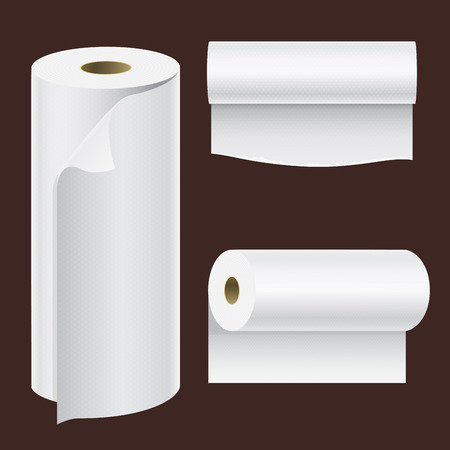 Realistic paper roll mock up set isolated vector illustration blank white 3d packaging kitchen towel, toilet paper roll, cash register tape, thermal fax roll template