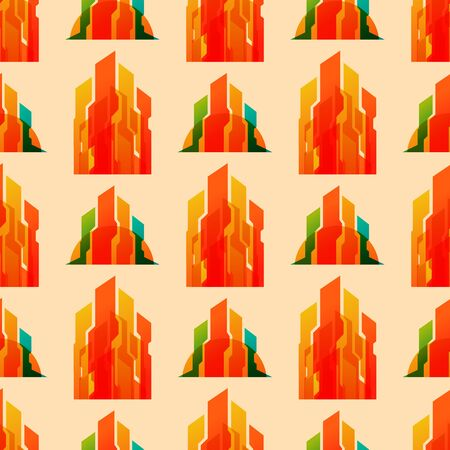 Skyscrapers buildings seamless pattern tower office city architecture house business apartment vector illustration Stock Photo