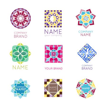 Abstract triangular polygonal shape kaleidoscope geometry company brand badge template circle decorative vector icon. Stock Photo