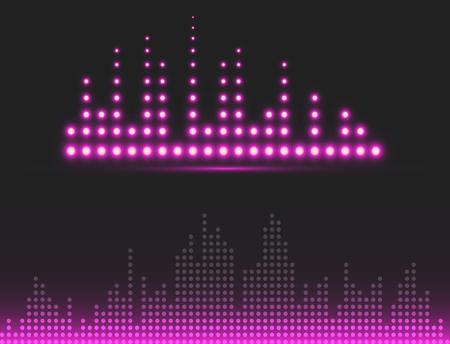 ベクトル デジタル音楽イコライザー オーディオ波デザイン テンプレート オーディオ信号の可視化信号図です。