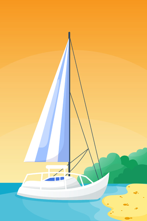 Summer time boat vacation beautiful nature tropical beach landscape of paradise island holidays background coastline lagoon vector illustration. Фото со стока - 83312077