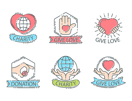 Donate money set log ooutline icons help icon donation contribution charity philanthropy symbols humanity support vector. Contribute design sign give money contribution giving. Stok Fotoğraf - 83312845
