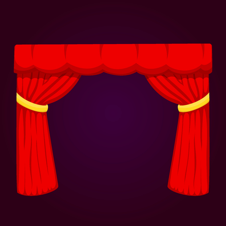 Theather scene blind curtain stage fabric texture performance interior cloth entrance backdrop isolated vector illustration. Presentation velvet luxury show boards elegant decor