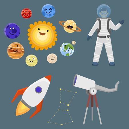 宇宙船太陽系探査宇宙船宇宙飛行士ロケット シャトル ベクトル図を別の惑星に着陸スペースで宇宙飛行士。銀河雰囲気システム ファンタジー自然  イラスト・ベクター素材