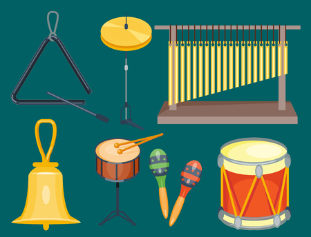 Musical drum wood rhythm music instrument series set of percussion illustration.