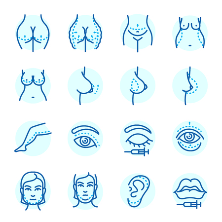 Van het de gezichtscorrectie van plastische chirurgie lichaamsdelen van de pictogrammenanaplasty van de de behandelingsschoonheid van de de schoonheidsgezondheid de procedure vectorillustratie