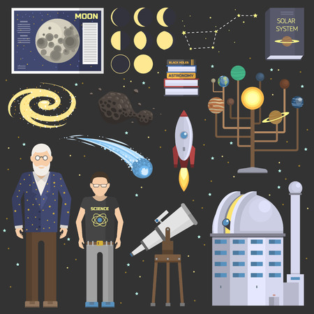 Astronomy oldman and school boy symbolsstickers vector set.