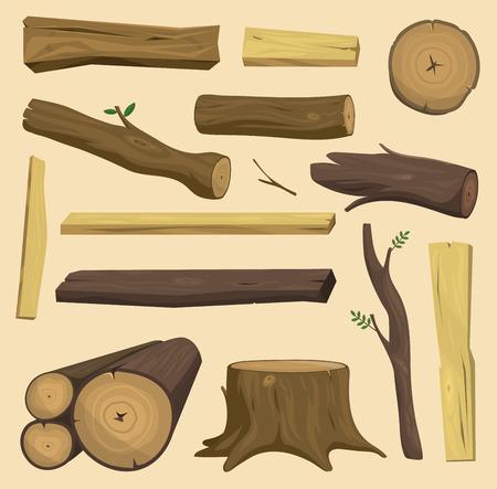 Geïsoleerde het blokhuis geïsoleerde vector van de houten materialenboom