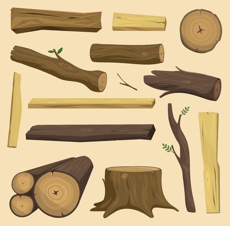 Wooden materials tree log cabin isolated vector isolated