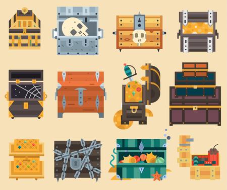 Treasure trunk chest box vector illustration.