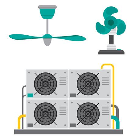 Airconditioner airlock systemen apparatuur ventilator conditioning klimaat ventilator technologie temperatuur koele vectorillustratie Vector Illustratie