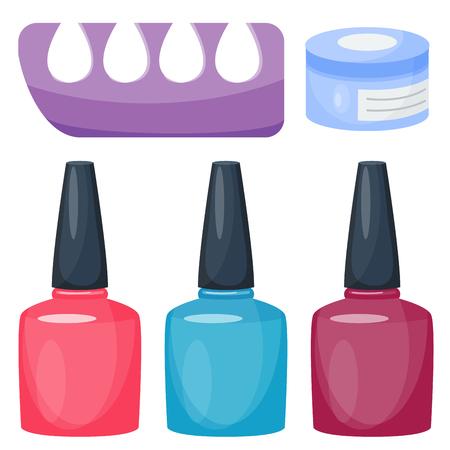 Van de de vingersinstrumenten van de manicurevoet en van de vingers van de de instrumenten vectormode persoonlijk de schoonheidsmiddelen Stock Illustratie