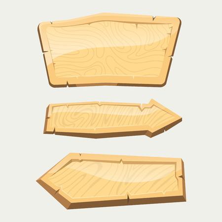 Het houten uithangbord die van de folder geïsoleerde wegraads houten tablet hangen die op de richting wijzen vectorillustratie van de pijlpunt. Aged banner billboard grunge rusty plaque panel