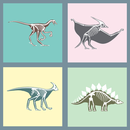 Dinosaurs skeletons silhouettes cards set fossil bone tyrannosaurus prehistoric animal dino bone vector flat illustration. Ilustração