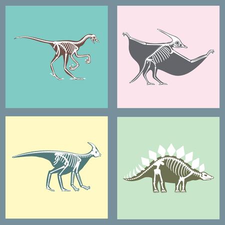 Dinosaurs skeletons silhouettes cards set fossil bone tyrannosaurus prehistoric animal dino bone vector flat illustration. Illustration