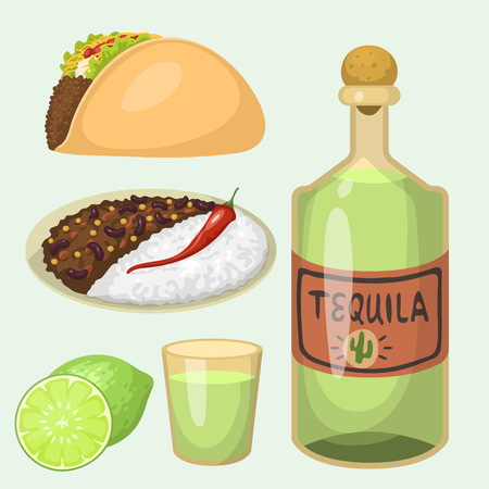 chili sauce: Mexican traditional food meal plates isolated lunch sauce mexico cuisine vector illustration Illustration