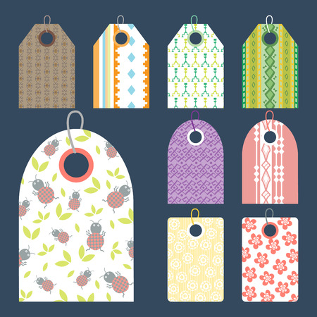 Stylish price clothes tag with pattern sale card stickers collection paper blank business promotion badge vector illustration Illustration