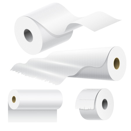 Il rotolo di carta realistico deride sul modello in bianco isolato d'imballaggio dell'asciugamano di cucina di 3d di vettore isolato illustrazione in bianco dell'insieme Archivio Fotografico - 83319583