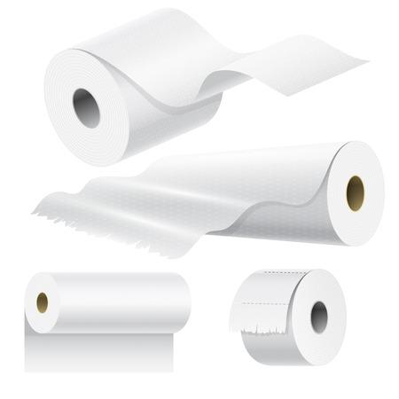 Realistyczne rolki papieru makieta zestaw izolowane ilustracji wektorowych puste białego opakowania 3d kuchni szmatka ręcznik