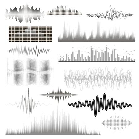 Le onde audio dell'equalizzatore di musica digitale di vettore progettano l'illustrazione del segnale di visualizzazione del segnale audio del modello.