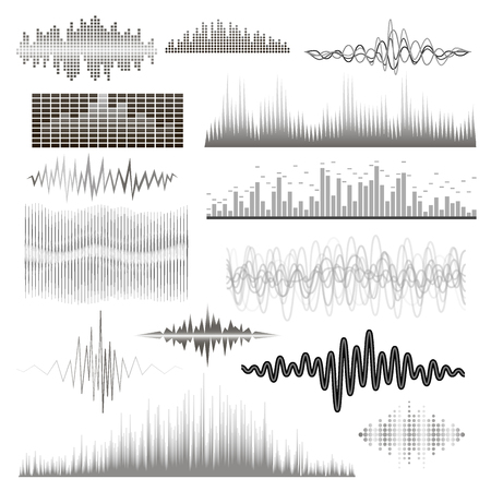 Vector digital music equalizer audio waves design template audio signal visualization signal illustration.
