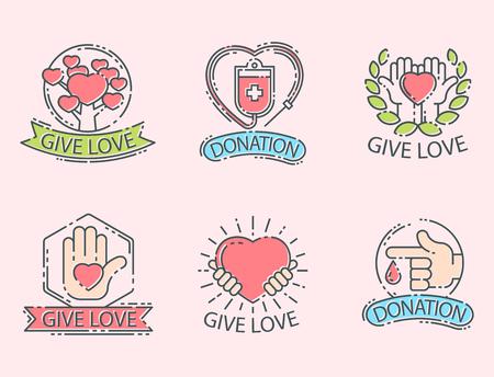 Donate money set logo icons help icon donation contribution charity philanthropy symbols humanity support vector Illustration