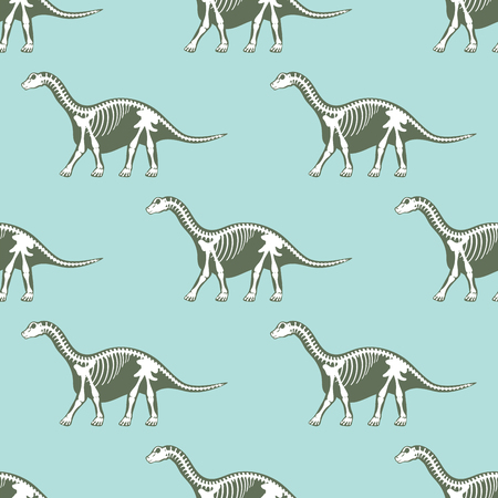 Dinosaurs skeletons silhouettes seamless pattern fossil bone tyrannosaurus prehistoric animal dino bone vector flat illustration.