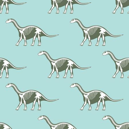 Dinosaurs skeletons silhouettes seamless pattern fossil bone tyrannosaurus prehistoric animal dino bone vector flat illustration.