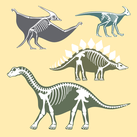 Dinosaurussen skeletten silhouetten instellen fossiele bot tyrannosaurus prehistorische dierlijke dino bot vector flat illustratie. Stock Illustratie