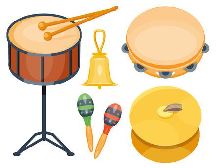 Musical drum wood rhythm music instrument series set of percussion vector illustration Иллюстрация
