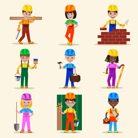 Kids builders characters profession vector illustration 向量圖像