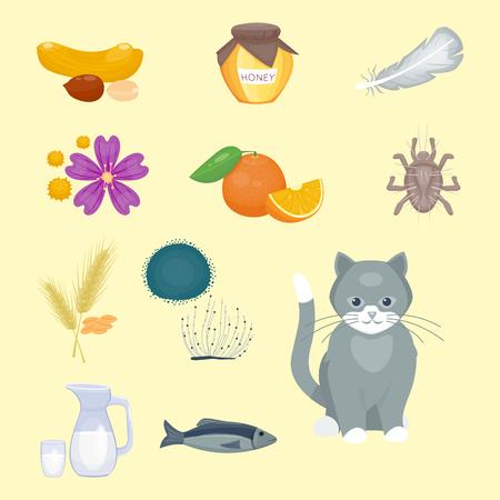 Allergiesymbolen ziekte gezondheidszorg voedselvirussen gezondheid vlakke ziekte allergeen symptomen ziekte informatie vectorillustratie.