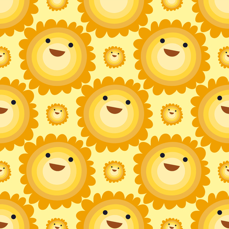Seamless pattern sun yellow planets weather vector illustration. Season design thunder hot temperature sign. Meteorology sky or sun nature element for web application.