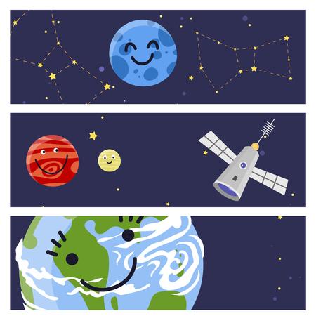 공간 방문 다른 행성 카드 디자인 우주선 태양계 미래 탐사 우주선 로켓 셔틀 벡터 일러스트 레이 션. 갤럭시 대기 시스템 판타지 자연 우주선입니다.