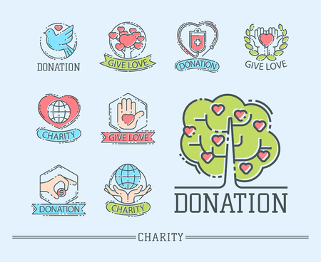 Donate money set log ooutline icons help icon donation contribution charity philanthropy symbols humanity support. 向量圖像
