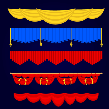 Van de het gordijnstof van de theatherscène de blinde van de de textuurprestaties van het gordijnstof binnenlandse de ingangsachtergrond geïsoleerde vectorillustratie. Presentatie fluwelen luxe-showborden elegante inrichting Stock Illustratie