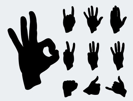 Hands deaf-mute different gestures human arm black silhouette people communication message vector illustration.
