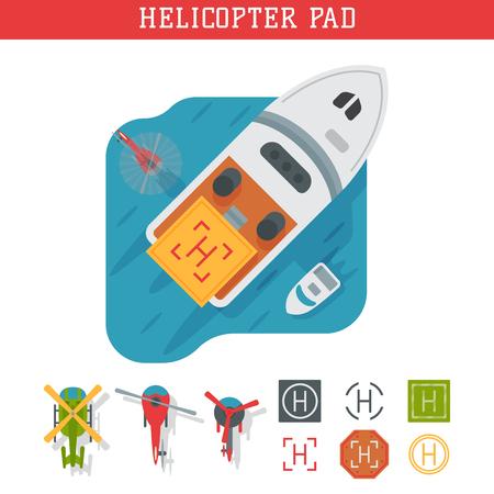 헬리콥터 패드 착륙 지상 착륙 영역 플랫폼 벡터 탑보기 그림. 헬리콥터 착륙 패드 항공 도시 플랫폼. 이륙 차량 관광 헬기 서명입니다.