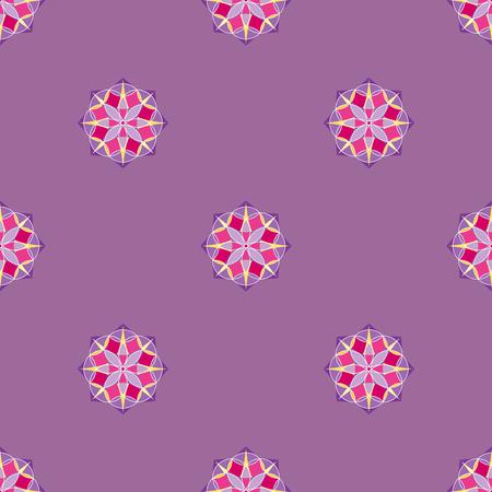 Abstract triangular polygonal shape kaleidoscope geometry seamless pattern template circle decorative vector.