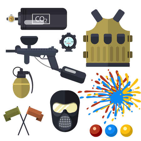 Set of paintball club symbols icons protection uniform and sport game design elements shooting man costume equipment target vector illustration. Fun leisure action battle cartoon aiming.