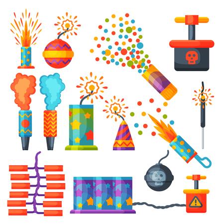 Feux d'artifice pyrotechnie fusée et clapet fête d'anniversaire cadeau célébrer vecteur illustration festival outils Banque d'images - 83404047