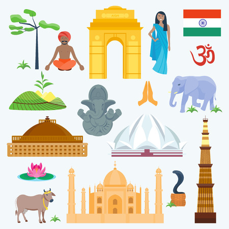 India traditional and famous country religion travel vector icons.