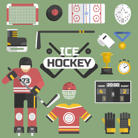 De pictogrammenmateriaal van hockeysport en vectorillustratie van het spelerontwerp. Stock Illustratie