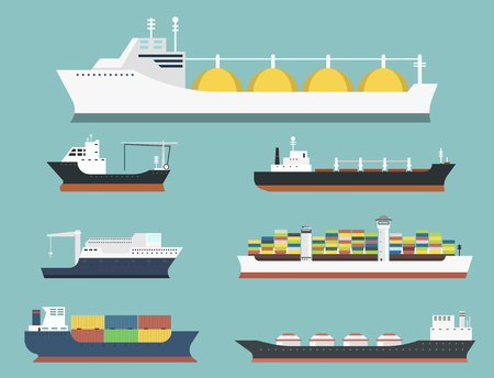 Cargo vessels and tankers shipping delivery bulk carrier train freight boat tankers isolated on background vector illustration Çizim