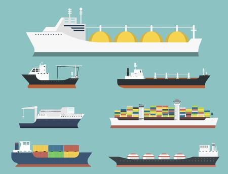 Vrachtschepen en tankers die van de de treingoederen van de leveringsbulkboot de tankschepen verschepen op achtergrond vectorillustratie worden geïsoleerd die
