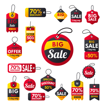 Super sale extra bonus red banners text label business shopping internet promotion discount offer vector illustration