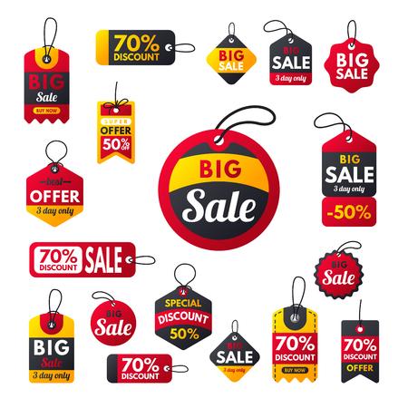 Super venta extra bono pancartas rojas texto etiqueta negocios compras Internet promoción descuento oferta vector ilustración Foto de archivo - 83760890