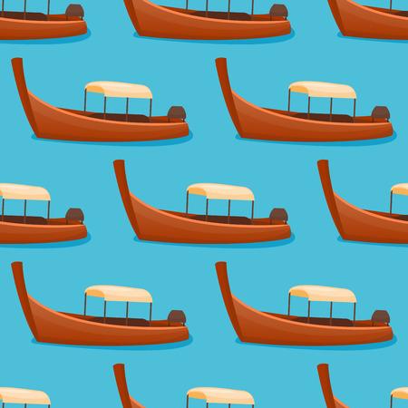 夏の時間のボートは休暇パラダイス島の休日背景海岸線ラグーン ベクトル イラストの美しい自然熱帯のビーチのシームレスなパターン風景です。