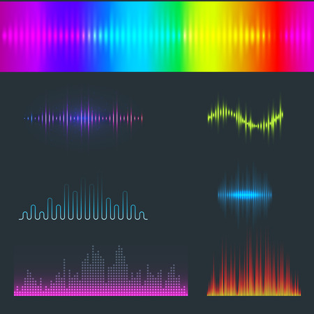 Vector digital music equalizer audio waves design template
