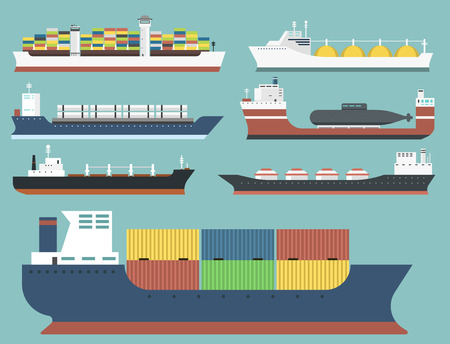 Set of commercial delivery cargo vessels and tankers shipping side view vector illustration